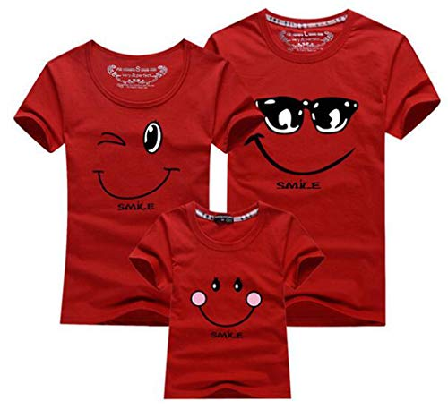 Matching Clothes Fashion Family Outfit Set New Cotton Family Matching T Shirt Smiling Face Shirt Short Sleeves Tees Tops 100 Red -