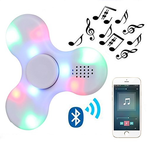 Kivors Speaker Fidget Spinner, Hand Toy with LED Light and MINI Bluetooth Speaker Fidget Toy Reducer for ADD, ADHD, Anxiety, and Autism Children Adult (White)