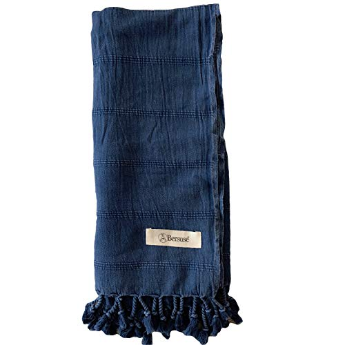 Bersuse 100% Cotton Troy Stonewashed Handloom Turkish Towel-33X70 Inches, Blue