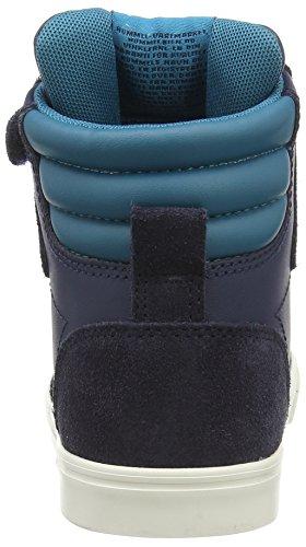Hummel Stadil Leather Jr Hi - Zapatillas Deportivas Altas de Cuero Niños^Niñas azul - azul (Dress Blue 7459)