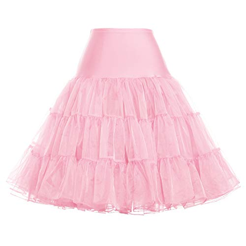Women's 50s Petticoat Vintage Crinoline Tutu Underskirts Pink ()