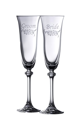 Galway Crystal Floral Bride & Groom Liberty Flute (1 Pair), Clear (Best Irish Wedding Toasts)