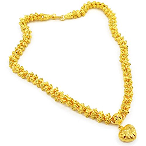 Heart Pikun Flower 22k 23k 24k Thai Baht Yellow Gold GP Necklace Pendant Jewelry Women