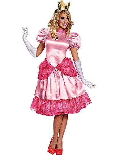 Disguise Women's Nintendo Super Mario Bros.Princess Peach Deluxe Costume, Pink, Large/12-14 -