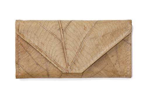 Leaf Leather Envelope Clutch Wallet - Handmade Womens Purse, Pockets, Zip Pouch - Beige/Natural ()