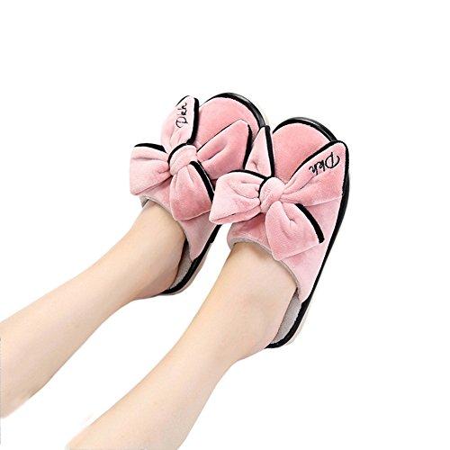 Btrada Donna Inverno Carino Bowknot Pantofole Accogliente Velluto Famiglia Coperta Antiscivolo Pantofole In Cotone Rosa