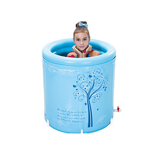 Round Laval Folding Bathtub Adult Blue Comfort Bath Bathtub Bathroom SPA Family Kids Swimming Pool ( Color : Blue , Size : L ) by Sun rain