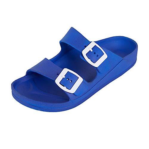 FUNKYMONKEY Women's Comfort Slides Double Buckle Adjustable EVA Flat Sandals (6 M US-Women, Fluo Royal Blue)