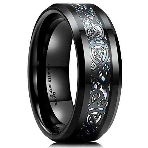 King Will Dragon Men's 8mm Color Opal Black Celtic Dragon Tungsten Carbide Ring Wedding Band 6.5