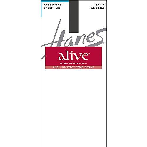 Hanes Alive Full Support Sheer Knee Highs 2-Pack_Barely Black_One Size