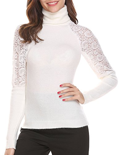 - Easther Womens's Long Sleeve Lace Patehwork Turtleneck Slim Fit Knitted Sweater, White, Medium