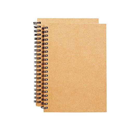 Spiral Sketch Book Kraft Cover Blank Sketch Pad Wirebound Sketching for Drawing Painting 8.5x11-Inch (2 Pack) 200Pages/ 100 Sheets