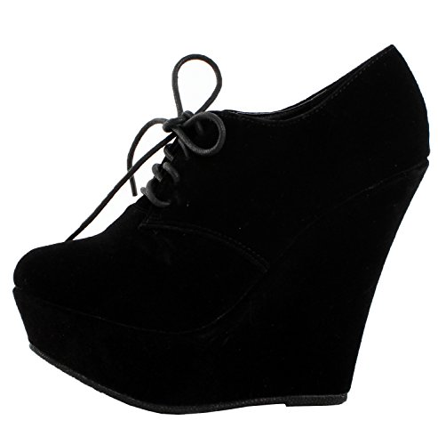 Forever Trendy-97 Womens New Hot Fashion Sexy Round Toe Lace Up Stylish Booties,6.5 B(M) US,Black