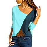 Kiminana Women O-Neck Splicing Color Collision Long Sleeves Plus Size Easy Tops Blouses