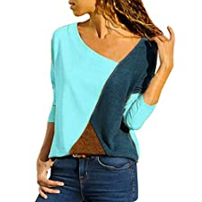 OrchidAmor Women O-Neck Splicing Color Collision Long Sleeves Plus Size Easy Tops Blouse