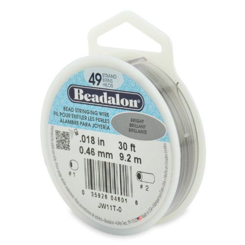 Beadalon Stringing Wire 49-Strand .018-Inch (.46-Millimeter) Diameter 30-Feet/Pkg, Bright