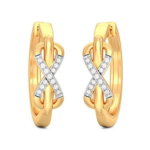 14K Or jaune 0,14CT TW White-diamond (IJ | SI) Boucles d'oreilles créoles
