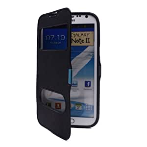 Rubber Flip Case Cover Smart View Window for Samsung Galaxy Note 2 II N7100 Black