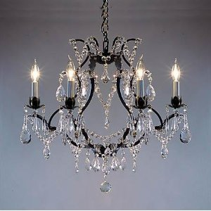 Wrought Iron Crystal Chandelier Chandeliers H19 x W20. SWAG PLUG  IN-CHANDELIER