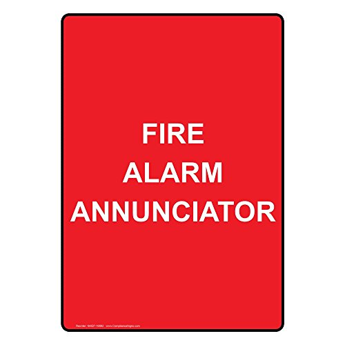ComplianceSigns Vertical Vinyl Fire Alarm Annunciator Labels, 5 x 3.50 in. with English Text, Red, pack of 4 Annunciator Fire Alarm