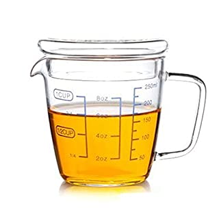 Teemall Measuring Cup with a Lid Clear with Blue Measurements 8oz/250ML