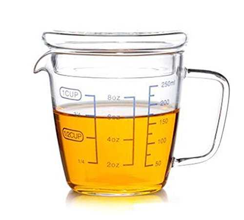 Teemall Measuring Cup with a Lid Clear with Blue Measurements 8oz/250ML (Teacup Measuring Cups)