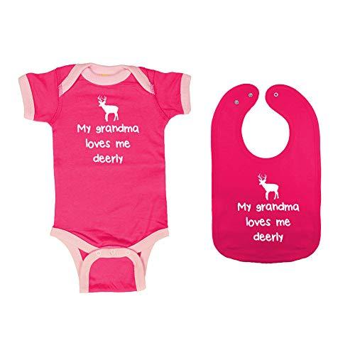 Mashed Clothing - My Grandma Loves Me Deerly - Baby Ringer Bodysuit & Premium Bib Gift Set (Hot Pink/Pink Ringer, Hot Pink Bib, Newborn) ()