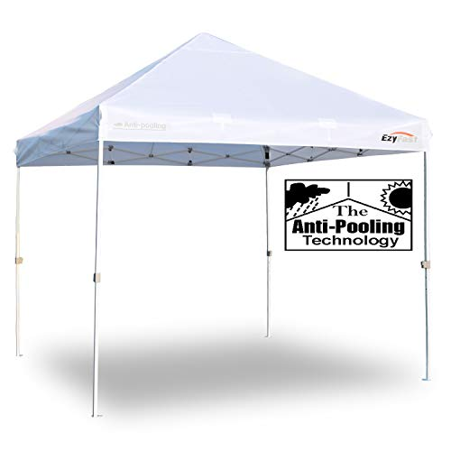 Cheap EzyFast Patented Anti-Pooling Commercial Grade Instant Canopy Shelter Rain Sunshine, White Portable 10ft x 10ft Straight Leg Pop Up Shade Tent Wheeled Carry Bag