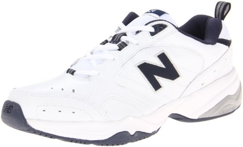 Casual Professional Shoes - New Balance Men's MX624v2 Casual Comfort Training Shoe, White/Navy, 11.5 2E US