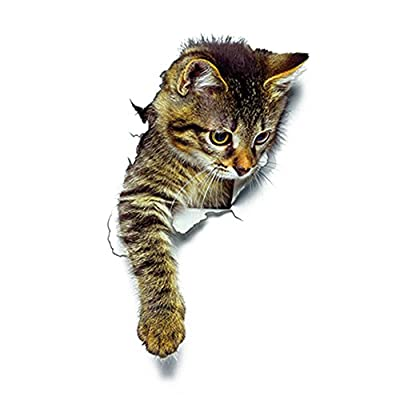 3D Creative Cat kitten Toilet Seat Stickers Funny Bathroom Decals Multipurpose Wall Window Art Mural Home Decor for Kids Boys Girls Adults