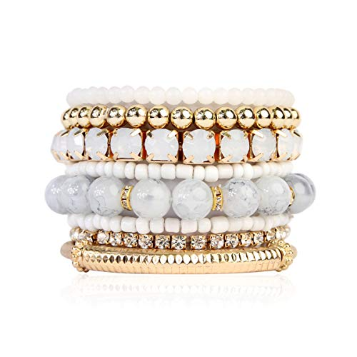 RIAH FASHION Multi Color Stretch Beaded Stackable Bracelets - Layering Bead Strand Statement Bangles (Original - Natural, 7)