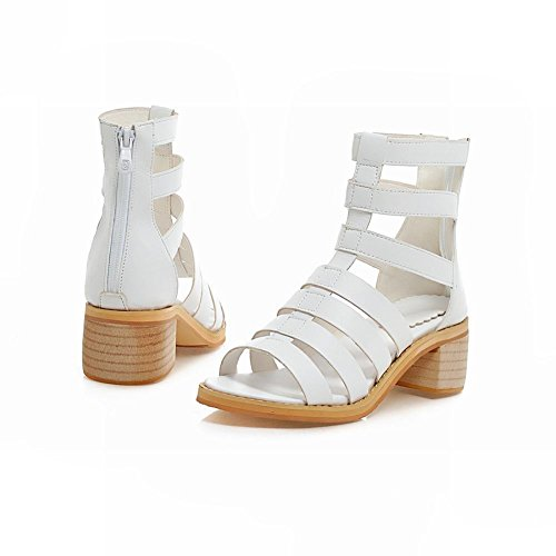 Carol Scarpe Donna Cerniera Moda Comfort Casual Fasciatura Chunky Sandali Tacco Medio Bianco