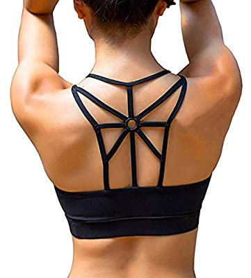 YIANNA Women's Padded Sports Bra Cross Back High Impact Workout Running Yoga Bra