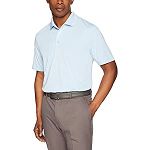 Amazon Essentials Mens Regular-Fit Quick Dry Golf Polo Cleaning Shirt - closeup in white