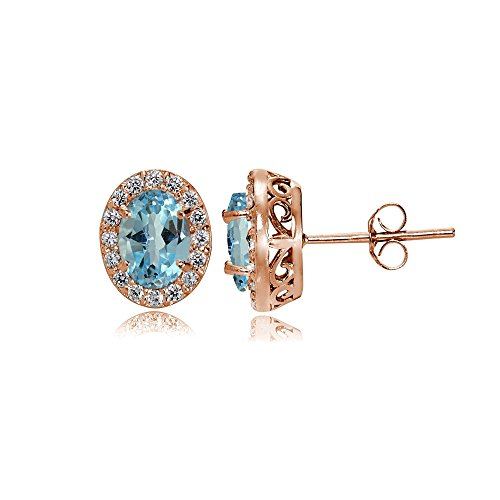 Rose Gold Flashed Sterling Silver Blue Topaz and Cubic Zirconia Accents Oval Halo Stud Earrings