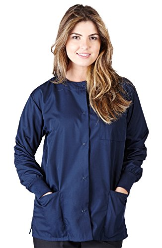 Natural Uniforms Women's Warm Up Jacket (Navy Blue) (Medium) (Plus Sizes Available) (Scrub Jackets For Nurses)