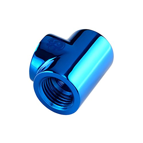 "Bitspower T-Block Fitting with Triple G1/4"" Female, Royal Blue"