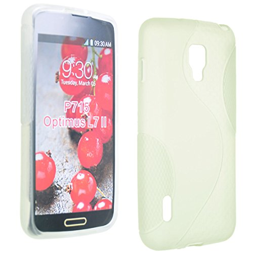 Okeler Clear S-Line Soft TPU Gel Back Case Cover Skin for LG Optimus L7 II Dual P715 with Free Pen