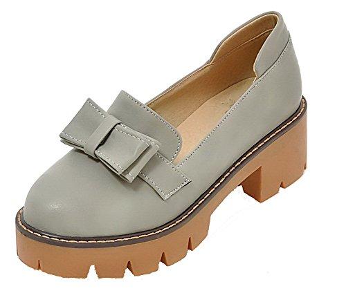 Absatz Pumps PU Ziehen Rein auf Zehe Grau Schuhe Mittler Damen Rund Leder AllhqFashion vZqFtt