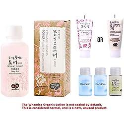 Whamisa [ Korean Skin Care Kit ] Organic Flowers Deep Rich Essence Toner 120ml / Double Rich Lotion 20ml / Cleansing Foam 20ml and 2 more Organic Random Miniatures - Naturally fermented, EWG Verified