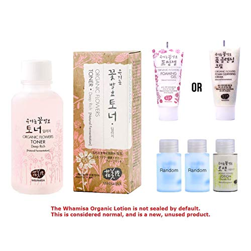 Whamisa [ Korean Skin Care Kit ] Organic Flowers Deep Rich Essence Toner 120ml / Double Rich Lotion 20ml / Cleansing Foam 20ml and 2 more Organic Random Miniatures - Naturally fermented, EWG Verified (Whamisa Organic Flowers Foam Cleansing Cream Review)