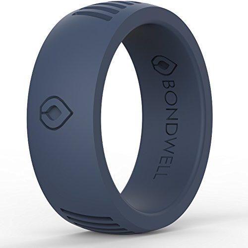 Football Mens Ring - BONDWELL Silicone Wedding Ring for Men (Deep Cobalt) Save Your Finger & A Marriage Safe, Durable Rubber Wedding Band for Active Athletes, Military, Crossfit, Lifting, Workout - 100% Guarantee (13)