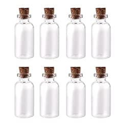 Mini Clear Glass Jars Bottles with Cork Stoppers for Arts & Crafts, Projects, Decoration, Party Favors - Size: 1-1/2\