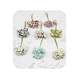 Barry-Story 6 pcs/lot 3cm Chrysanthemum Silk Large Pearl Bouquet Artificial Flower Wedding Decoration clipboard Wreaths 102