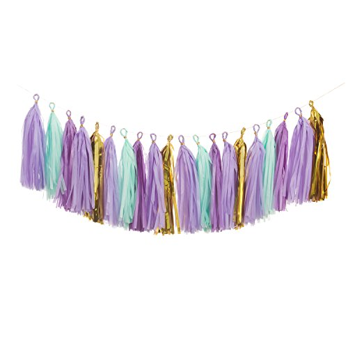 Ling's moment 18 PCS Tassel Garland Banner Tissue Paper Tassels for Christmas Baby Shower and Party Decorations, DIY Kits - (Purple+Metallic Gold+Light - Diy Party Decor