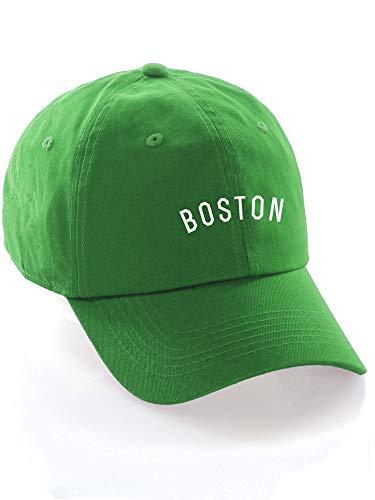 - Daxton USA Cities Baseball Dad Hat Cap Cotton Unstructure Low Profile Strapback - Boston Green White