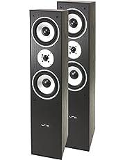 LTC Multicav 3-way stand speaker boxes (500Watt PMPO, bass reflex, woofer, 1 pair), black