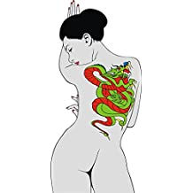 SEXY ORIENTAL ASIAN WOMAN WITH DRAGON TATTOO GREY RED GREEN BLACK Vinyl Decal Sticker Two in One Pack