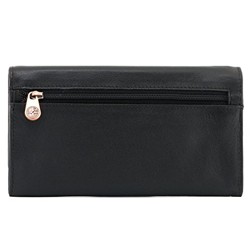 1030 Leather Over Style Black Purple Slots Zip Nappa Flap 1642 with Note Inside Purse 17 Large Credit Sections Card Soft qf4wZWaE