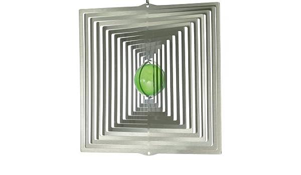 Campanas de viento de acero inoxidable - ORBIT QUADRAT 225 - 22, 5 x 23 cm - bola de color Ø 5 cm - incluye cuerda de nailon, gancho y rodamiento de bolas ...